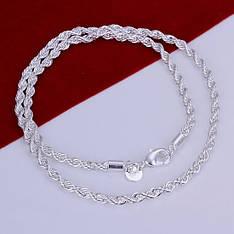 Цепочка витая Колосок покрытие серебро