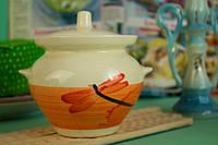 Красивый керамический горшочек Стрекоза