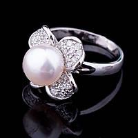 """Женское серебряное кольцо """"цветочек"""" (культ. пресн. жемчуг, фианиты)"""