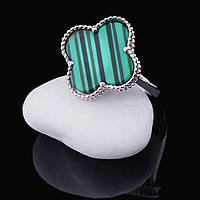 Женское серебряное кольцо с малахитом (родий)