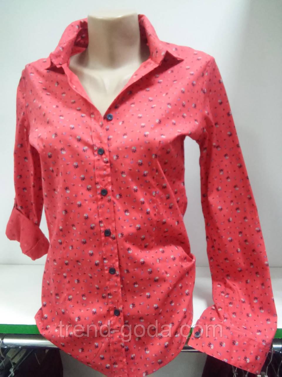 Классическая женская рубашка с длинным рукавом,на пуговицах,ткань натуральный коттон хлопок