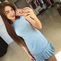 Женское платье с рюшами голубое ИШ-44