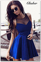 Платье женское короткое без рукавов декольте с сеточкой, фото 1