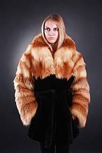 Шуба кожушок з лисиці та мутона Fox-and-mouton fur coat