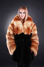 Шуба полушубок из лисы и мутона  Fox-and-mouton fur coat