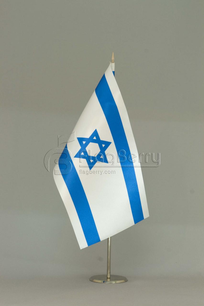 Флажок Израиля 13,5*25 см., плотный атлас, фото 1
