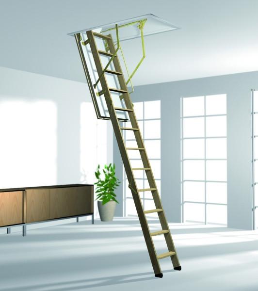 Деревянная трехсекционная чердачная лестница ROTO BTR Norm 8/3 ISO 120x70