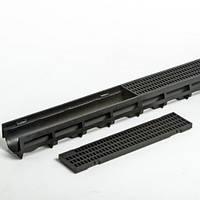 Дренажный канал HAURATON TOP Х  желоб  (1000х119х89), PE-PP (чёрный) с  ячеистой решеткой CAR TRAFFI