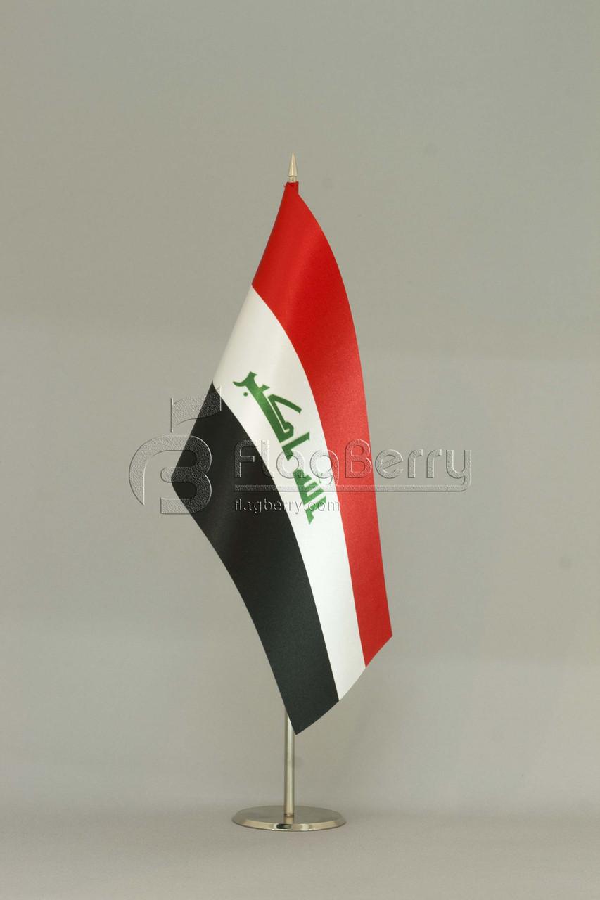 Флажок Ирака 13,5*25 см., плотный атлас, фото 1