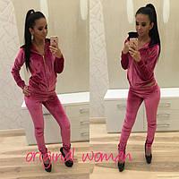 Стильный женский велюровый спортивный костюм : свитер на змейке с капюшоном и приталенные брюки, розовый