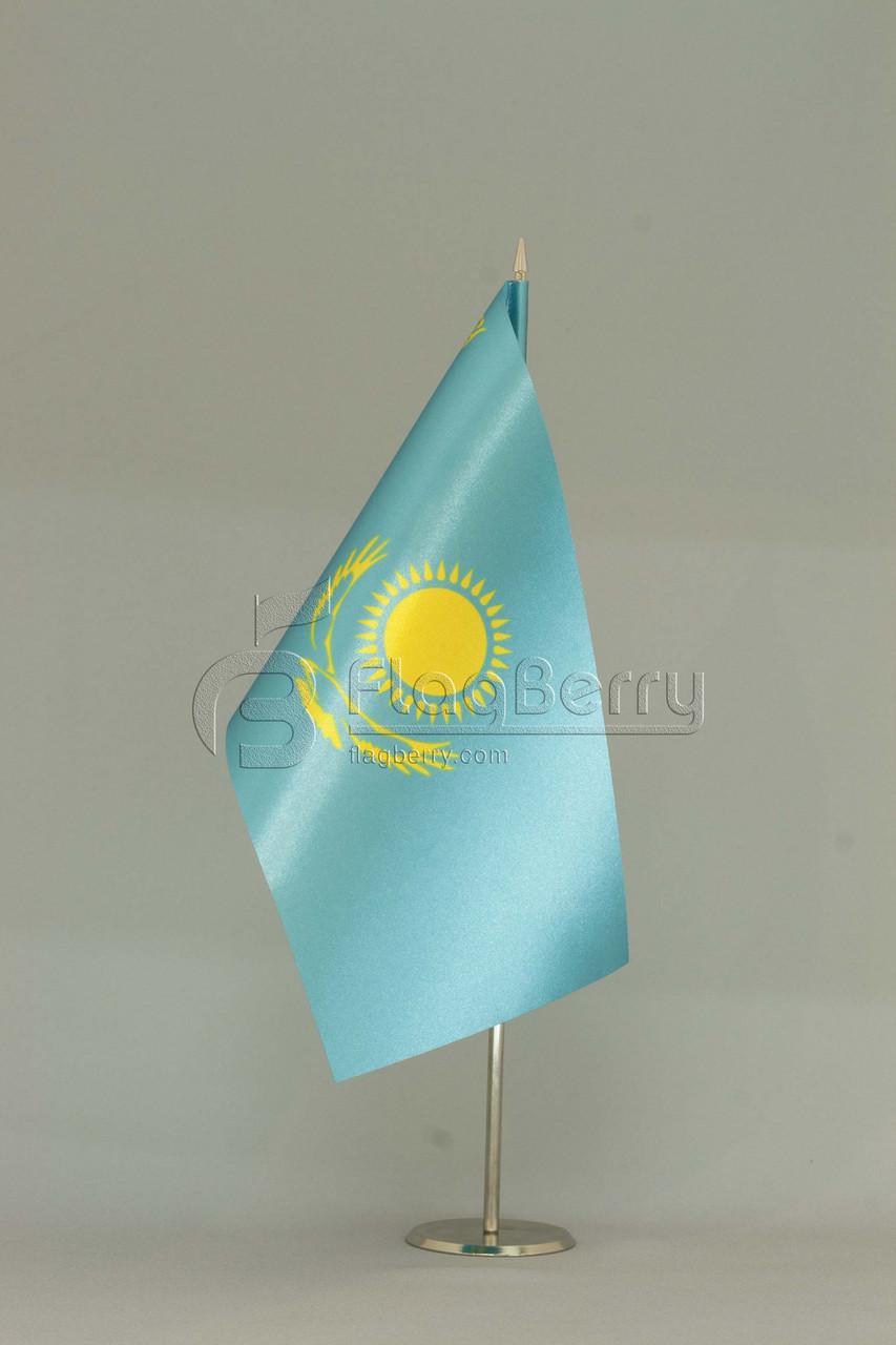 Флажок Казахстана 13,5*25 см., плотный атлас, фото 1