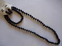 Комплект украшений из черного агата