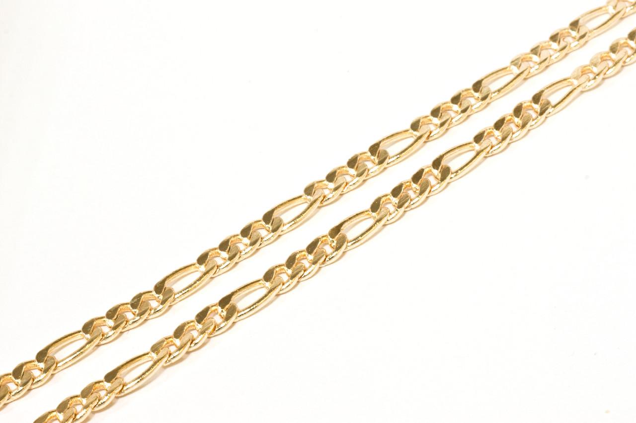 Цепочка позолоченная, плетение Фигаро 3мм, р.42