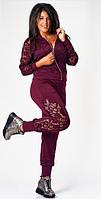 Красивый женский спортивный костюм большого размера с гипюровыми вставками.Куртка на молнии