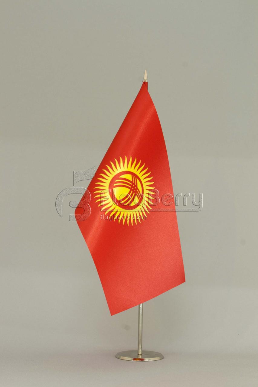 Флажок Киргизии 13,5*25 см., плотный атлас, фото 1
