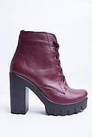 Ботинки из натуральной бордовой кожи №353-4, фото 1