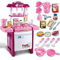 Игрушечная кухня для девочек Super Cook 889-8, звук, свет, 24 аксессуара, 67см, розовая