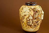 Керамическая круглая  ваза народная лепка