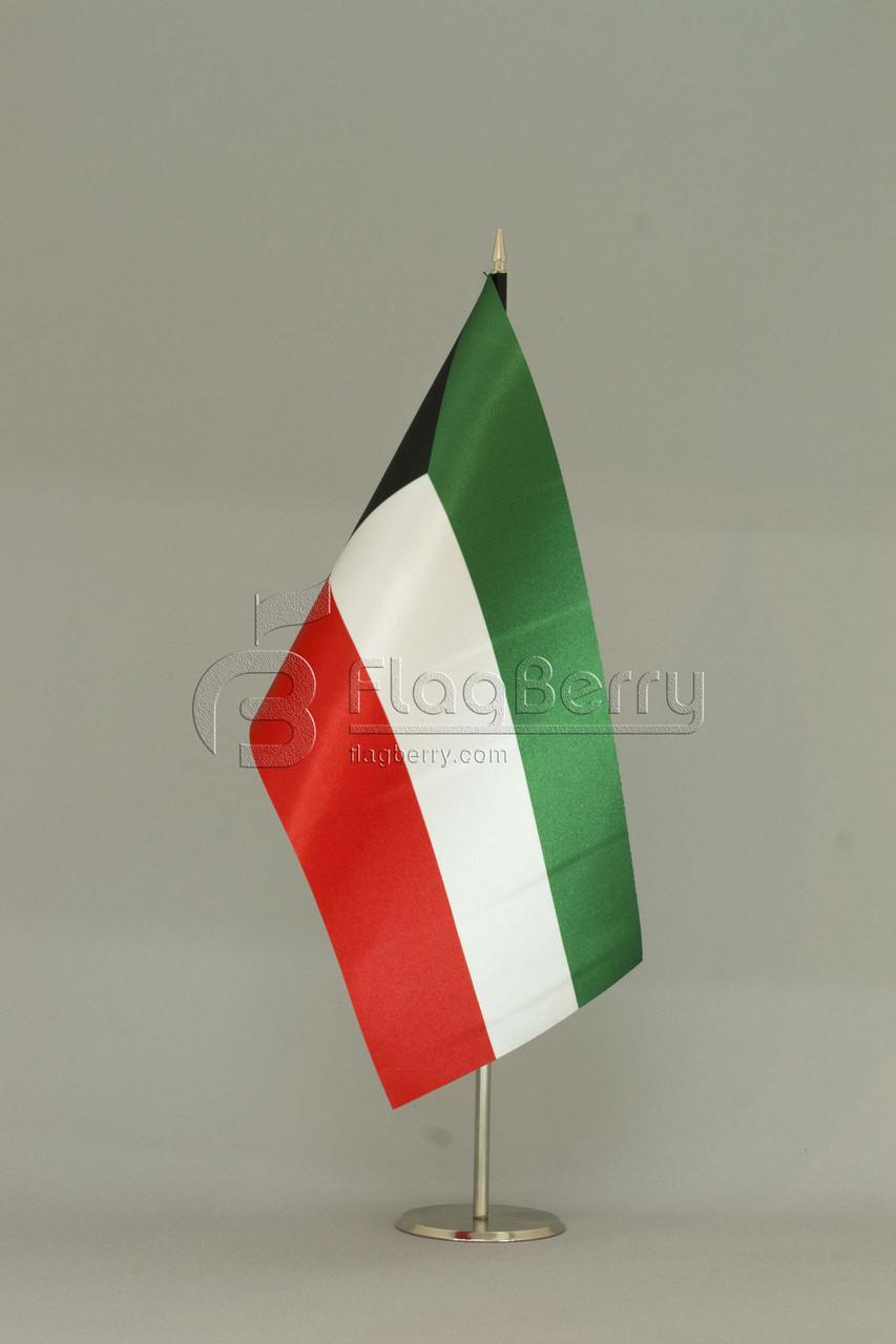 Флажок Кувейта 13,5*25 см., плотный атлас, фото 1