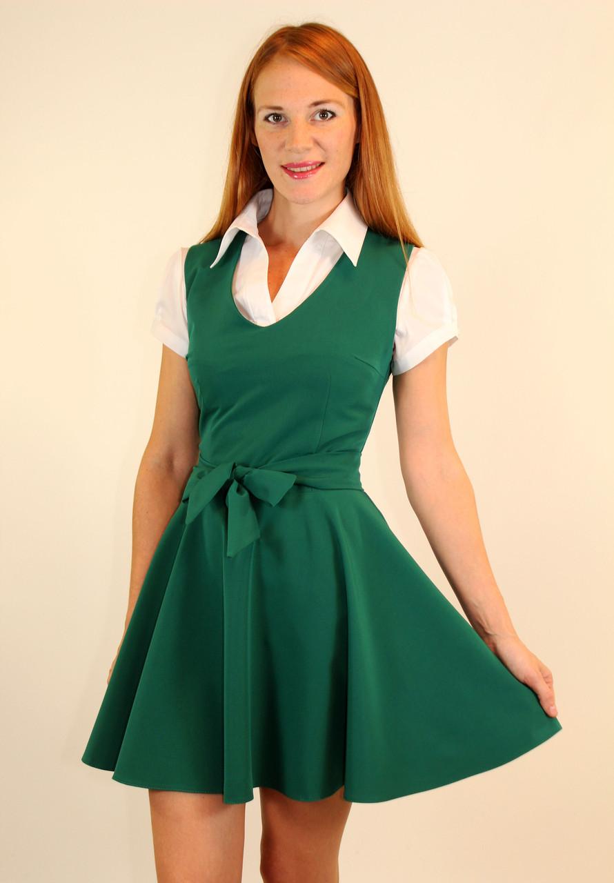 Школьный сарафан зеленый 42-48 р