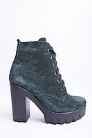 Ботинки из натуральной зеленой замши №353-7, фото 1