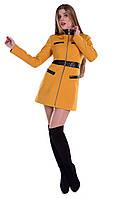Красивое женское осеннее пальто Фрея горчица 5773
