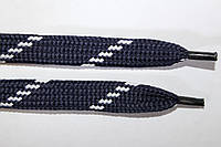 Шнурки плоские (чехол) 10мм. т.синий+белый , фото 1