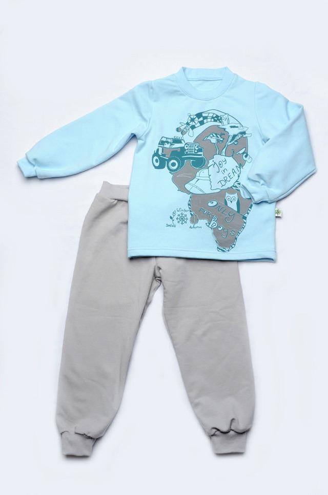 Пижама для мальчика серо голубая