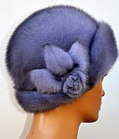 "Женская шапка норковая ""Шляпа-роза"""