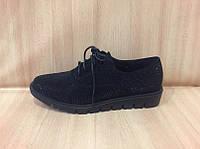 Женские замшевые туфли на низком ходу