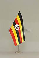 Флажок Уганды 13,5*25 см., плотный атлас