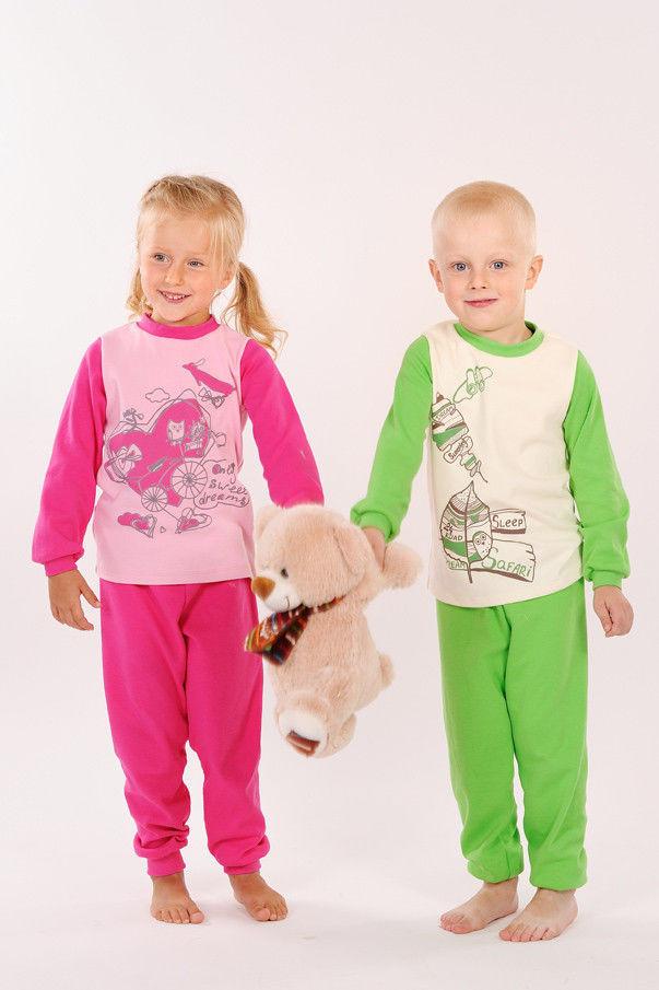 Пижама для девочки и мальчика, розовая и зелёная