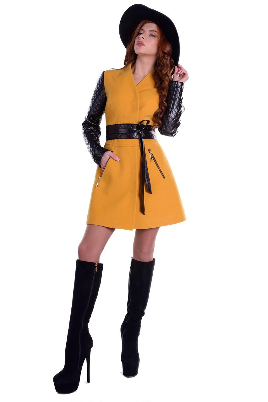 Кашемировое женское демисезонное пальто Олимпия светлая горчица