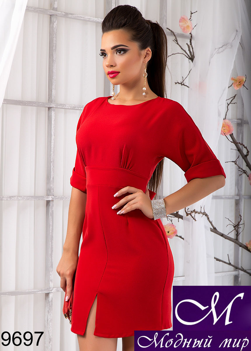 Женское осеннее деловое платье красное (р. S,M,L) арт. 9697 - Модный мир в Житомире