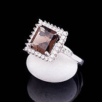 Женское серебряное кольцо с дымчатым топазом