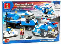 Конструктор Полицейский спецназ М38-В0190 SLUBAN, 403 детали, 5 человечков, вертолет, лодка, 2 авто