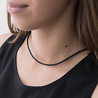 Кожаный шнурок с серебряной застежкой на шею для крестика/подвески
