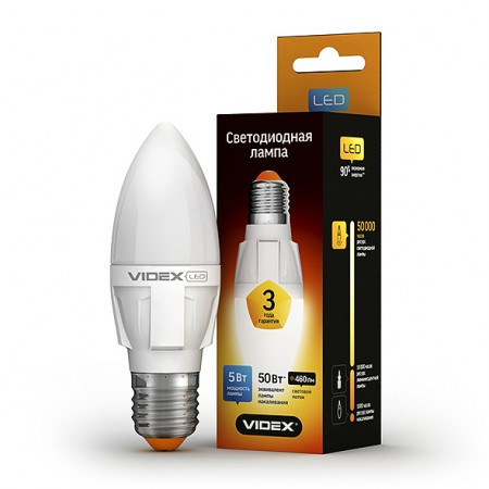 LED лампа VIDEX C37 5W E27 3000K 220V