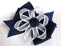 Бант школьный, синий с белой лентой, диаметр 10 см