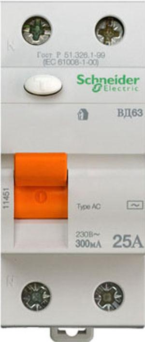 Диф. выключатель нагрузки (УЗО) ВД63 2П 25A 300МA Schneider Electric
