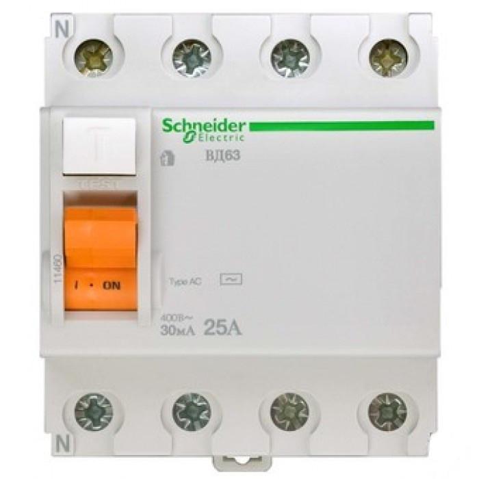 Диф. вимикач навантаження (УЗО) ВД63 4П 25A 30МА Schneider Electric