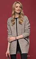 Женское короткое шерстяное пальто цвета капучино на молнии. Модель Mia Zaps. Коллекция осень-зима 2016-2017.