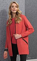 Женское короткое шерстяное пальто кораллового цвета на молнии. Модель Mia Zaps. Коллекция осень-зима 2016-2017