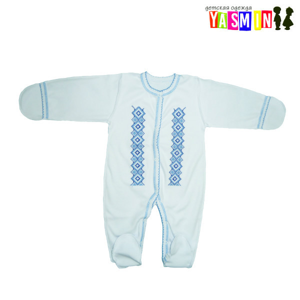 Комбинезон-вышиванка для новорожденных мальчиков(интерлок)