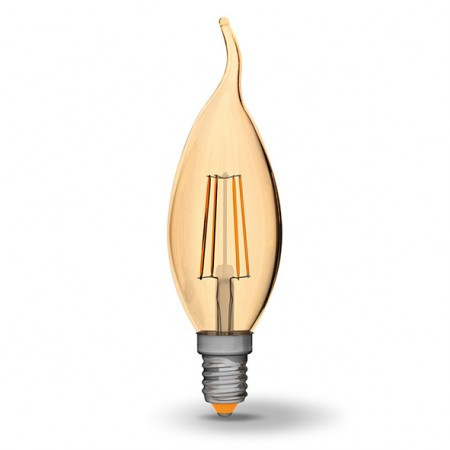LED лампа VIDEX C37FtA 4W E14 2200K 220V бронза