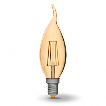 LED лампа VIDEX C37FtA 4W E14 2200K 220V бронза, фото 2