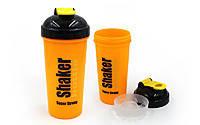 Шейкер с сеточкой для спортивного питания FI-4444-OBK (TS1314) (пластик, 700мл, оранжевый-черный)