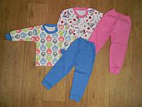 933 Пижама детская на манжете, интерлок, р.28 Голубая