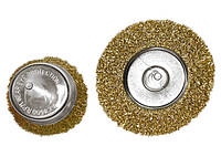"Набор щеток для дрели, 2 шт., 1 плоская, 100 мм, + 1 ""чашка"", 75 мм, со шпильками, мет. MTX 744809"