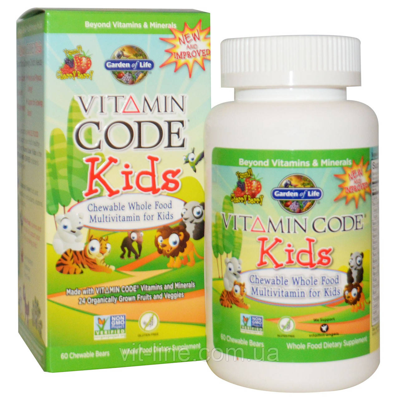 Garden of Life, Vitamin Code, для детей, жевательные цельнопищевые мультивитамины для детей, вишня,